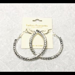 Jewelry - Silver Hoop Earrings Clear Rhinestones NWT